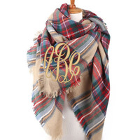 NEW Monogrammed Plaid Blanket Wrap Scarf Font Shown MASTER CIRCLE in Khaki