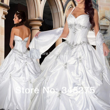 In stock white halter taffeta beaded appliques ball gown cheap wedding party dress quinceanera dresses size 2-16