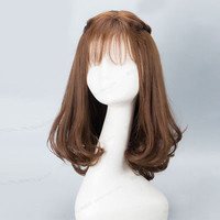 40CM Lolita Brown Long Wavy Hair Heat Resistant Party Thin Bang Cute Cosplay Wig