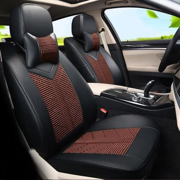 Custom Cover Car Seat Fit for Toyota Fortuner Car Seat Cover Accessories PU Leather & Ice Silk Seat Cover for Cars Seat Cushion