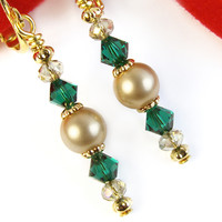 Emerald Green Crystal Gold Pearl Clip On Earrings Swarovski Christmas