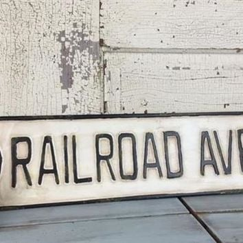 Vintage- Style Railroad Ave Street Sign