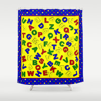 Primary Polka Dots BLUE Alphabet Shower Curtain by MargaretNewcombArt