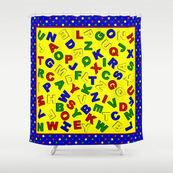 primary polka dots blue alphabet shower curtain by