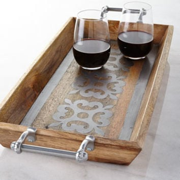 GG Collection Wood Tray with Metal Inlay