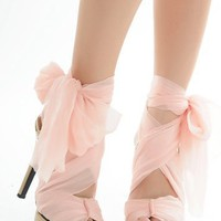 free shipping New stylish and comfortable with waterproof  sweet ultra high silk belt female sandals pink/black-in Sandals from Shoes on Aliexpress.com