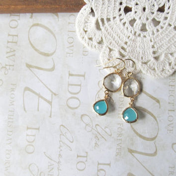SURF milky turquoise and crystal clear crystal drop chandelier earrings (gold)