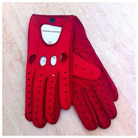 Driving red leather gloves for ladies-leather gloves-for drive-riding-girls gift-christmas gift-car drive italian leather-gloves,valentine's