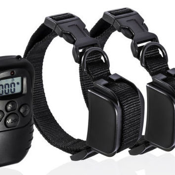 Power-Saving Pet Dog Training Collar Rechargeable LCD 100LV Shock Two Collars