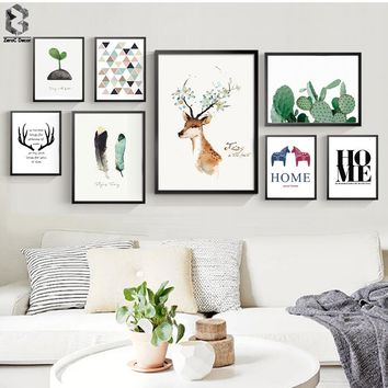 Nordic Scandinavian Art Prints Watercolor Animal Poster Cactus Wall Picture Quote Canvas Painting Kids Room Home Decor