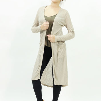 Long sleeve ribbed maxi open long cream color cardigan