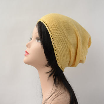 yellow beanie knit hat cotton beanie slouchy beanie hat mens beanie womens beanie summer hat crochet hat spring accessories