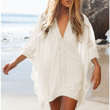 V-neck Half Sleeve Bikini Cover Up