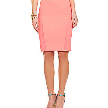 Guess Mesh-Inset Pencil Skirt - Pink