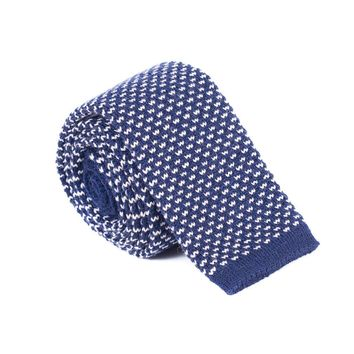 Brunello Cucinelli Men's Navy Wool Skinny Knit Tie