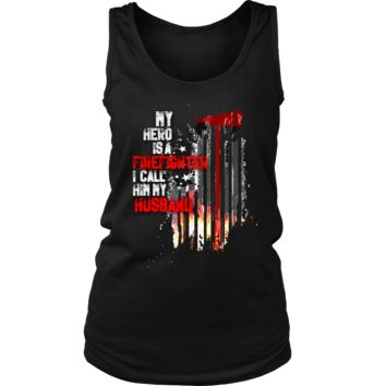Women's Thin Red Line American Flag Firefighter Husband Tank Top