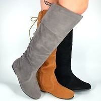 Womens Boots Flat Over the Knee Faux Suede Boot in Black Gray Tan and Brown New
