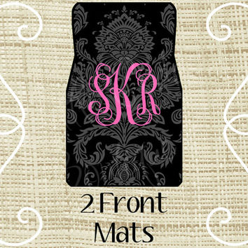 Custom Personalized Set of Car Floor Mats - Front set, Monogrammed Car Mats, Damask Black Gray Hot pink or ANY Color(s)