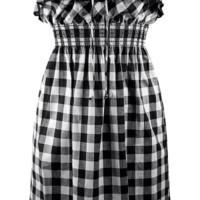 Gingham Print Ruffled Dress - Black