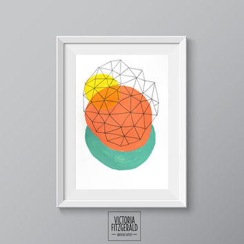 13x19 inch Large Fine Art Print Abstract Geometric Minimalist Art, Coral, Turquiose, Yellow, Triangle Shapes Premium Art Print