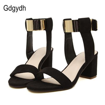 Gdgydh New 2017 Summer Thick Heel Sandals Women Fashion Women's Shoes Metal Quality Nubuck Leather High Heels Sandals Size 35-40