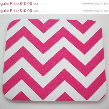 SALE -- Mouse Pad mousepad / Mat - Rectangle or round - Hot Pink Chevron - Zig zag zigzag - geometric - Geekery Custom Desk Office Gifts