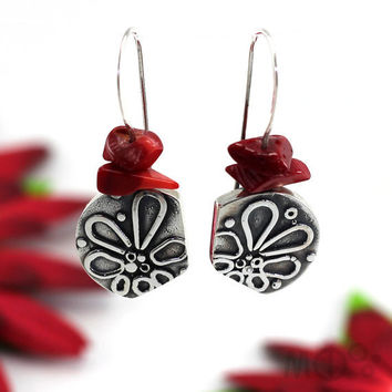 Earrings with Flower Texture by Fusion Sterling by MCDecarie
