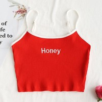 Ribbed Cropped Honey Embroidered Tank Top
