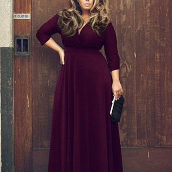 Maroon Deep V Cuff Sleeve Maxi Dress