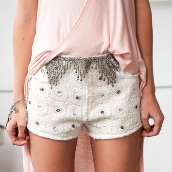 Crochet Jeweled Shorts