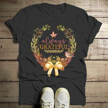Men's Always Grateful T Shirt Fall Wreath Shirts Thanksgiving Graphic Tee Watercolor Illustration