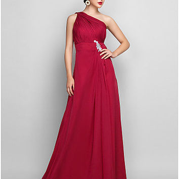 A-line One Shoulder Floor-length Chiffon Evening/Prom Dress - OuterInner