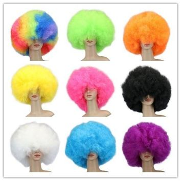 QQXCAIW Short Culry Cosplay Party Wig Red Green Puprle Pink Black Blue White Brown Yellow Blonde Dance Afro Wigs