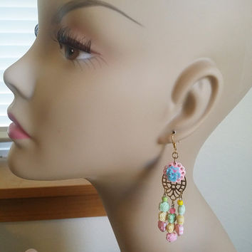 pastel rose chandelier earrings, rose bead earrings, long dangle flower drop earrings, gypsy earrings, boho handmade beaded jewelry