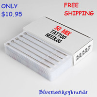 50 Pieces Mixed Assorted Disposable Tattoo Needles - Needle Size: 3RL, 5RL, 7RL, 9RL, 3RS, 5RS, 7RS, 9RS, 5F, 7M1