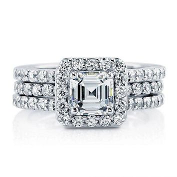 1.3CT Asscher Cut Russian Lab Diamond Halo Bridal Set Wedding Band Ring