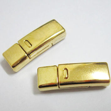 Gold color magnetic clasp for flat leather, bracelet item, leather supplies