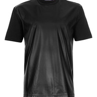 Black Leather Look Front T-Shirt - TOPMAN USA