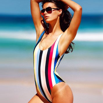 Colorful Stripe One Piece Swimsuit