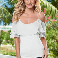White Cold Shoulder Ruffles Blouse