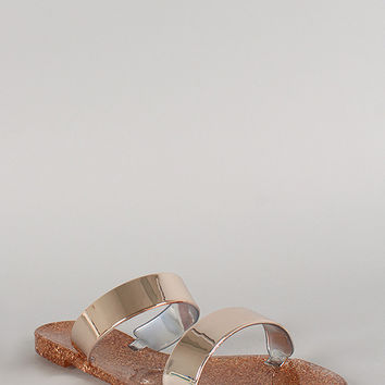 Bamboo Glitter Metallic Double Band Jelly Flat Sandal