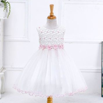 Stunning Lil Princess White Tulle/ Pink Trim Gown