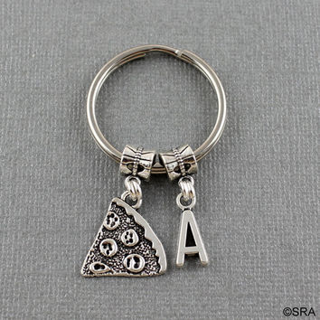 SRA ZZY2 Initial Slice Of Pizza Keychain - Best Friend Keychain