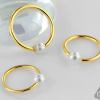 Faux Pearl Fixed Bead Ring