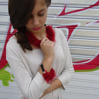 Statement  jewelry,Short knitted necklace, red knitted tube.Chunky jewelry.Knitted bracelet,knitted necklace.