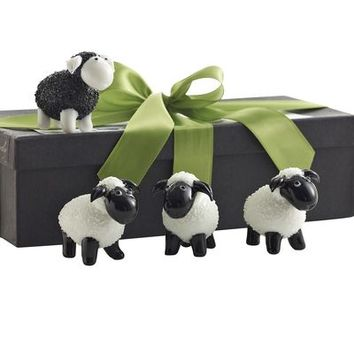 Glass Sheep Figurines - Set of 4