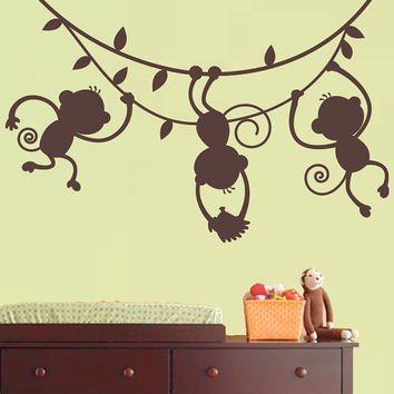 Monkey Wall Decal Jungle Safari - 3 hanging monkey Silhouette - Nursery Children's Bedroom Vinyl Wall Art Sticker