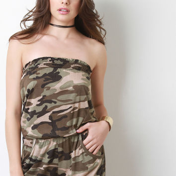 Camouflage Tube Top Romper