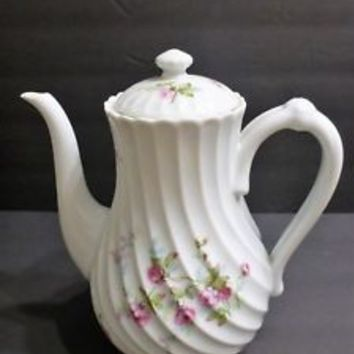 Haviland Limoges JULIA pattern Coffee pot with lid. blue back stamp