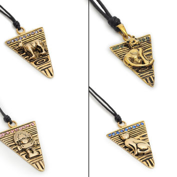 Aztec Mayan Designs Handmade Brass Necklace Pendant Jewelry